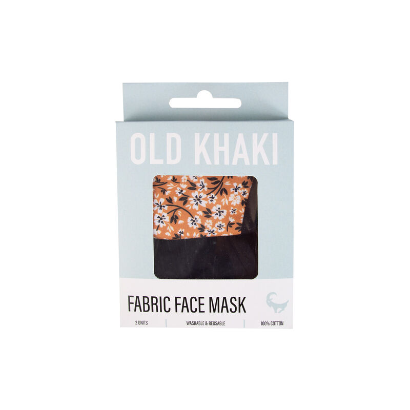 2-Pack Ditsy Fabric Face Masks -  yellow-black