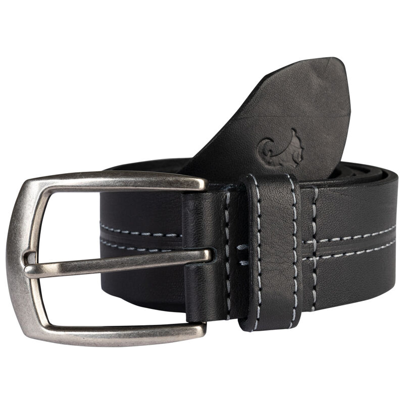 Beckham Contrast Centre Stitch Leather Belt -  black-black