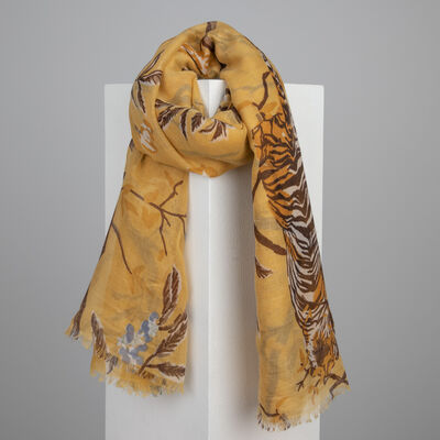 Old Khaki Taj Tree & Tiger Print Scarf