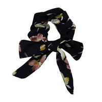 Floral & Dot 2-Pack Scrunchie Hair Ties -  brown-navy
