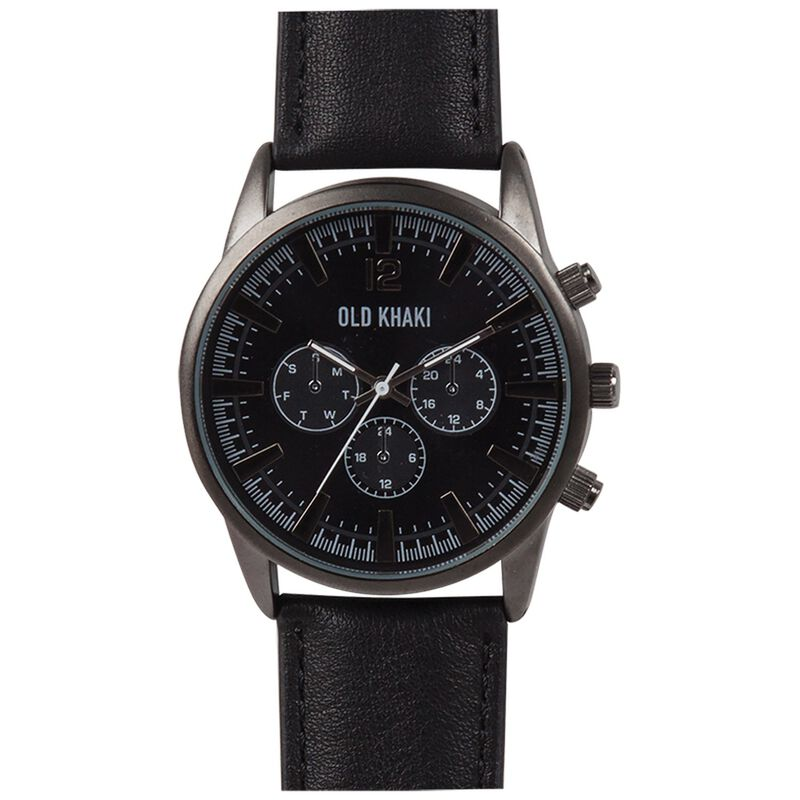 Chad Large Round Aviator Watch -  black-black
