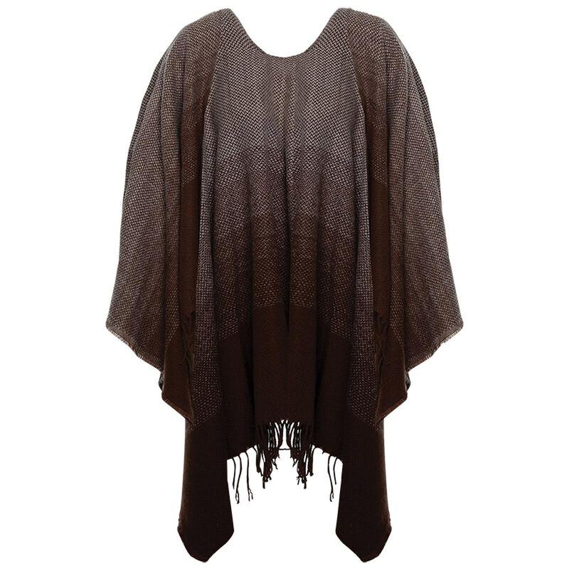Jordynn Ombre Poncho -  brown-stone