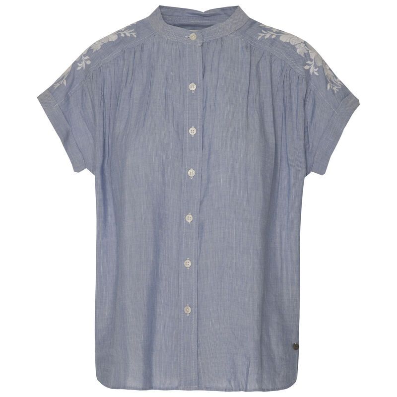 Selma Women's Embroidered Top  -  white-blue