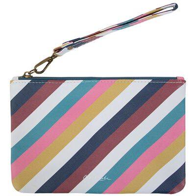 Ayla Vegan Leather Striped Pouch