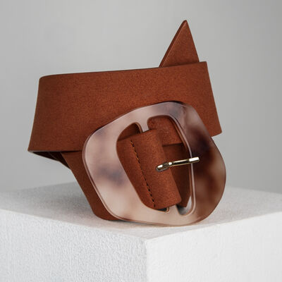 Kimberly Resin Buckle Suede Belt
