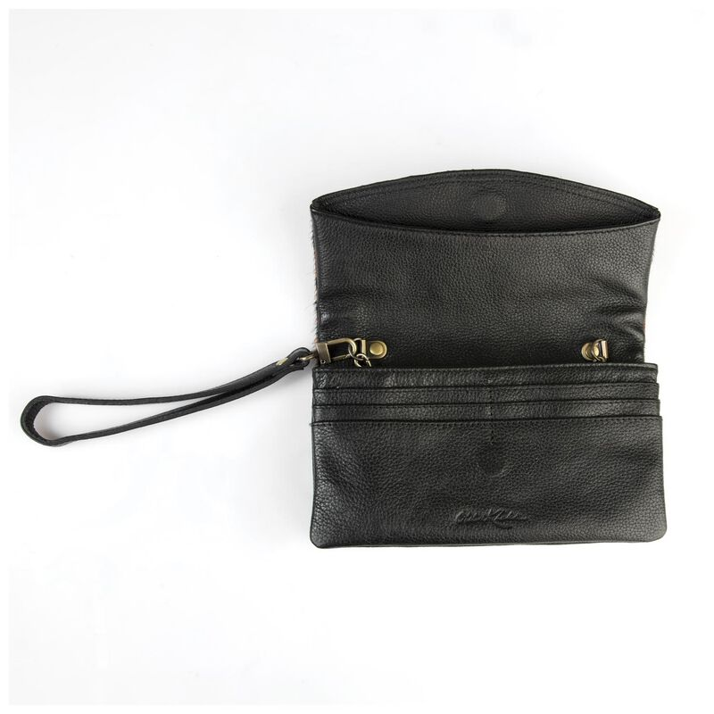 Amelie Leather Fold Over Bag -  tan-black