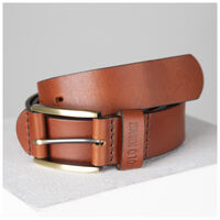 Ceasar Embossed Loop Leather Belt -  tan