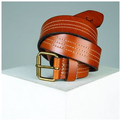 Old Khaki Oscar Leather Stitch Detail Belt