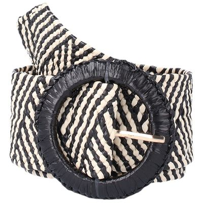 Zaylee Round Buckle Straw Belt