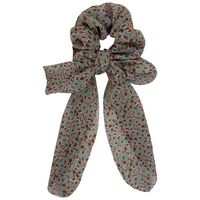 Ditsy & Animal 2-Pack Scrunchie Hair Ties -  green-pink