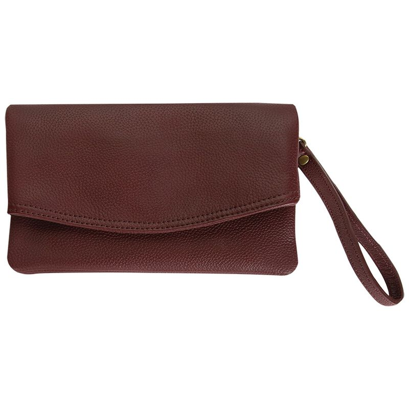Amelie Leather Fold Over Bag -  burgundy