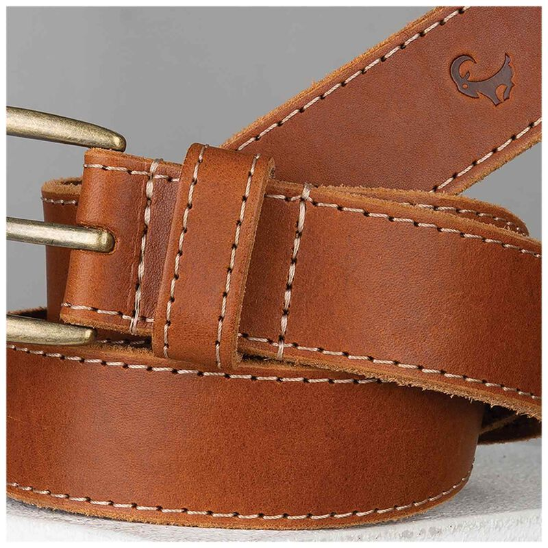Augustin Men's Stitch Detail Leather Belt -  tan