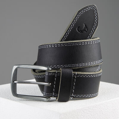 Kaleb Edge Stitch Leather Belt