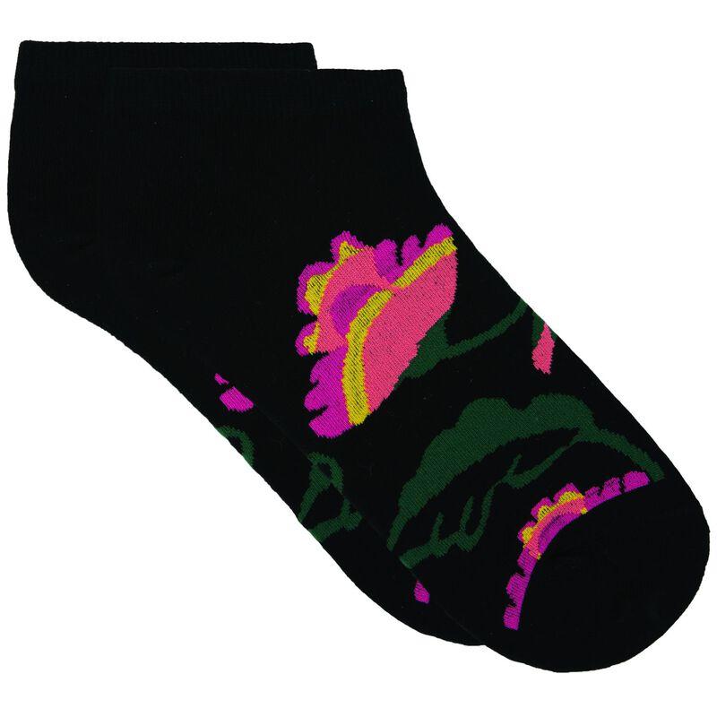 Zoe Floral Print Ankle Sock -  black-assorted